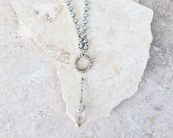 20% OFF Saint George - a rhinestone necklace with clear crystal quartz pendant