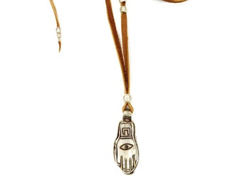 20% OFF Fatima's Hand necklace (TAN) - carved bone hamsa pendant, backed by hand carved silver on an adjustable leather cord