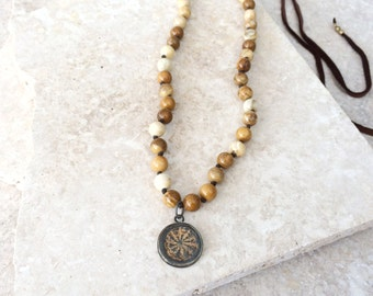 Devotion necklace (JASPER) - one ofa kind mala inspired adjustable necklace with brown leather and antique flower iron pendant