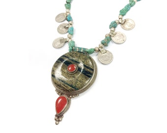 20% OFF Minerva necklace (GREENBLACK JASPER) - Natural raw Morenci turquoise and Banjara coins with large statement pendant with red accents