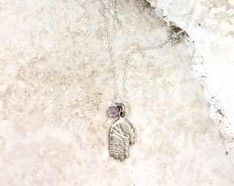 Good Fortune (AMETHYST) - Hamsa silver brass pendant with gemstone charm on a sterling silver chain