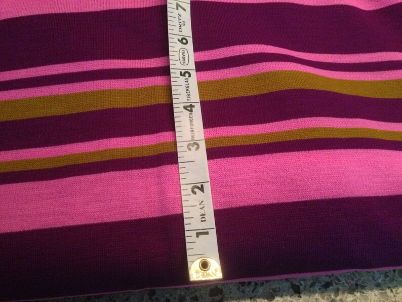 Not Stretchy with Multi-Color Horizontal Stripes 66 Wide 2 Yards Vintage Cotton Polyester Blend Knit Fabric