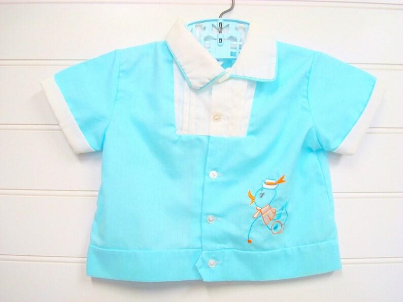 bda3e667b Bebé Vintage Ropa bebé niño camisa bebé Retro Boy en Aqua