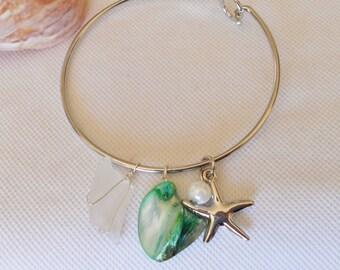 Bangle Bracelet, Sea Glass Bracelet, Green Bangle Bracelet, Starfish Charm Bracelet, Sea Shell Bracelet, Seafoam Green, Ocean Jewelry