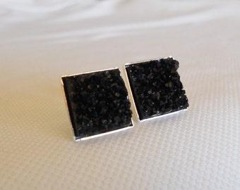 Druzy Studs, Black Druzy Studs, Square Druzy Black Studs, Faux Druzy Studs, Silver Studs, Druzy Jewelry, Druzy Earrings, Sparkle Studs