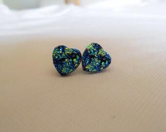 Blue Druzy Heart Studs, Sparkle Studs, Druzy Earrrings, Faux Druzy Earrings, Heart Studs, Druzy Heart Earrings, Druzy Jewelry, Druzy Studs