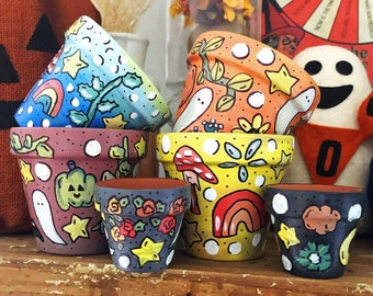 Individual Hand Painted Plant Pot   Terracotta Indoor Outdoor Planter  Mushroom Rainbow Halloween Fall Designs/ Witchy Decor/ Green Witch