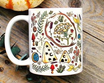 Witchy Mug/ Floral Mug/ Modern Witch Coffee Mug/ Gift for Girlfriend/ Gifts for Her/ Green Witch/ Wiccan Mug/ Witchy Decor/ Pagan Home Decor