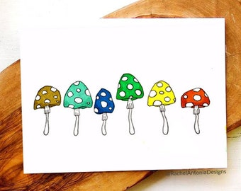 Mushroom Folded Greeting Cards/ Blank Cards with Envelopes/ Rainbow Cards/ Toadstool Cards/ Cute Cards/ Any Occasion Cards/ Cottagecore