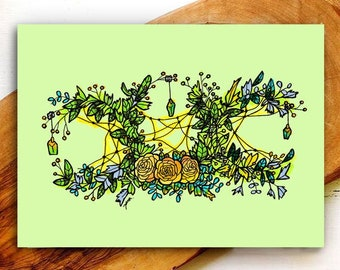 Triple Moon Goddess Folded Greeting Cards/ Green Witch/ Any Occasion Card/ Wiccan/ Witchy/ Blank Cards with Envelopes/ Floral Wreath