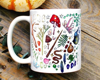 Witch Supplies Mug/ Witchy Decor/ Green Witch Mug/ Wiccan Decor/ Pagan Magical Witchcraft Coffee Mug/ Woodland Botanical Gifts for Her