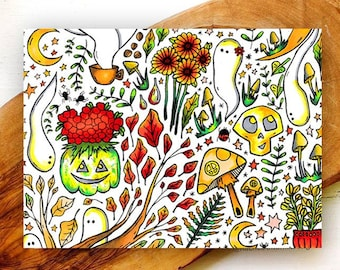 Witchy Harvest Folded Greeting Cards/ Blank Cards with Envelopes/ Cute Halloween Cards/ Wiccan Cards/ Witchy Autumn Cards/ Ghosts/ Mushrooms