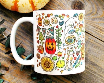 Halloween Mug / Retro Halloween/ Kitsch Witch/ Witchy Decor/ Pagan Witchcraft/ Ghosts/ Jack O' Lantern/ Coffee Mug/ Spooky Gifts for Her