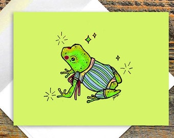 Fancy Frog Folded Greeting Cards/ Frog Prince/ Blank Cards with Envelopes/ Any Occasion Card/ Toad Witch/ Frog Wizard/ Birthday/ Thank You