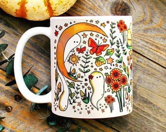 Witchy Harvest Mug/ Halloween Coffee Mug/ Witchy Decor/ Green Witch Mug/ Cottagecore/ Wiccan Decor/ Witchcraft/ Spooky Gifts for Her