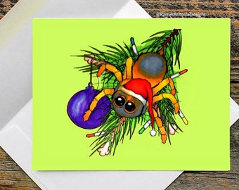 Christmas Spider Folded Greeting Cards/ Blank Cards with Envelopes/ Yule Stationery/ Witchy Christmas Cards/ Pagan/ Creepy Cute/ Santa Hat