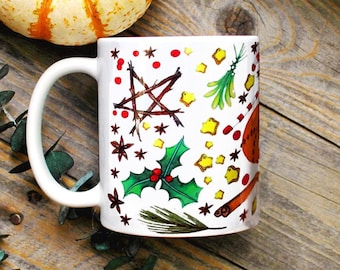 Witch Yule Mug/ Witchy Christmas Decor/ Green Witch Mug/ Wiccan Decor/ Pagan Magical Witchcraft Coffee Mug/ Holly Mistletoe Gifts for Her