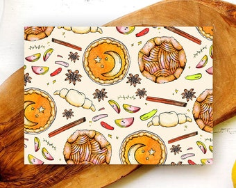 Kitchen Witch Folded Greeting Cards/ Blank Cards with Envelopes/ Cute Autumn Cards/ Thanksgiving Cards/ Any Occasion Cards/ Pumpkin Pie
