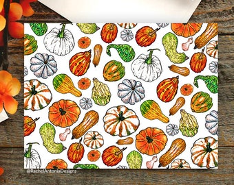 Pumpkins Folded Greeting Cards/ Blank Cards with Envelopes/ Cute Halloween Card/ Pumpkins and Gourds/ Autumn Fall Stationery