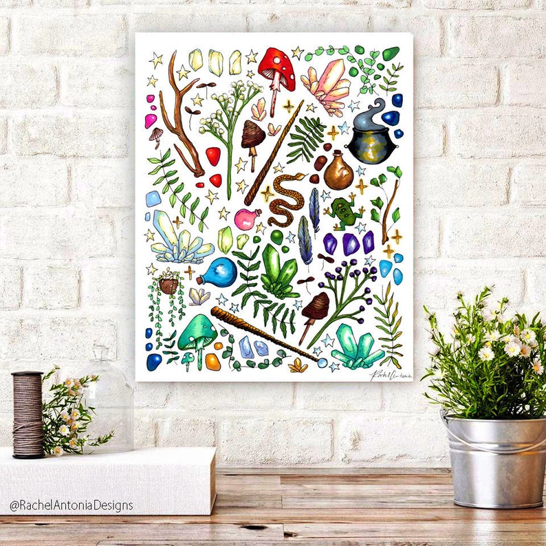 Hand Drawn Witch Supplies Canvas Print/ Multiple Size Green image 0