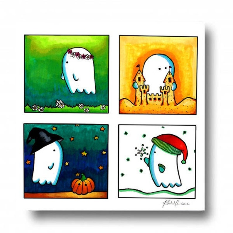 Ghostly Seasons Canvas Art/ Decor Gift for Her/ Halloween Wall image 0