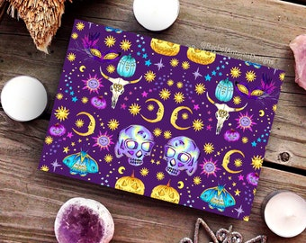 Masquerade Folded Greeting Cards/ Blank Cards with Envelopes/ Witchy Decor/ Pagan Card/ Wiccan Stationery/ Any Occasion Card/ Skulls/ Moons