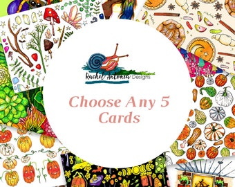 Choose Any 5 Greeting Cards/ Mix and Match/ Blank Card with Envelopes