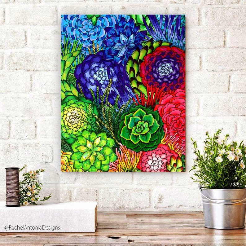 Hand Drawn Rainbow Succulent Canvas Print/ Multiple Size Green image 0