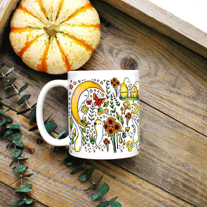 Witchy Harvest Mug/ Halloween Coffee Mug/ Witchy Decor/ Green image 0
