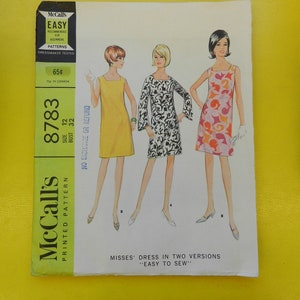 9081 McCall/'s 1967 Vintage Pattern Misses/' and Junior Dress in Three Versions Size 12 Bust 34