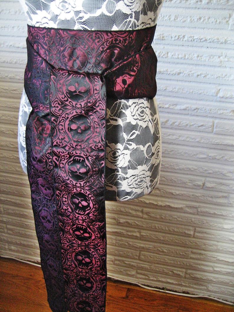 Gold Claret Red Skull Brocade Sash 9 or 12 feet long OR Purple Silver or Black Pirate Buccaneer Festival Belt Costume Sash \u2022 BlackLilyCat