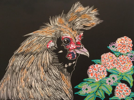 Appenzeller Spitzhauben Chicken With Flowers Painting On Scratchboard With Acrylic Markers