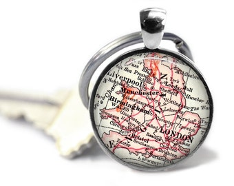 London Map Keychain Personalized For Him England Boyfriend Gift Travel Birthday Mens A173