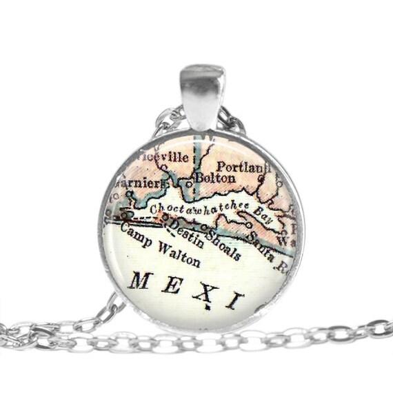Map Destin Florida.Gifts For Best Friends Destin Florida Map Necklace Pendant Etsy