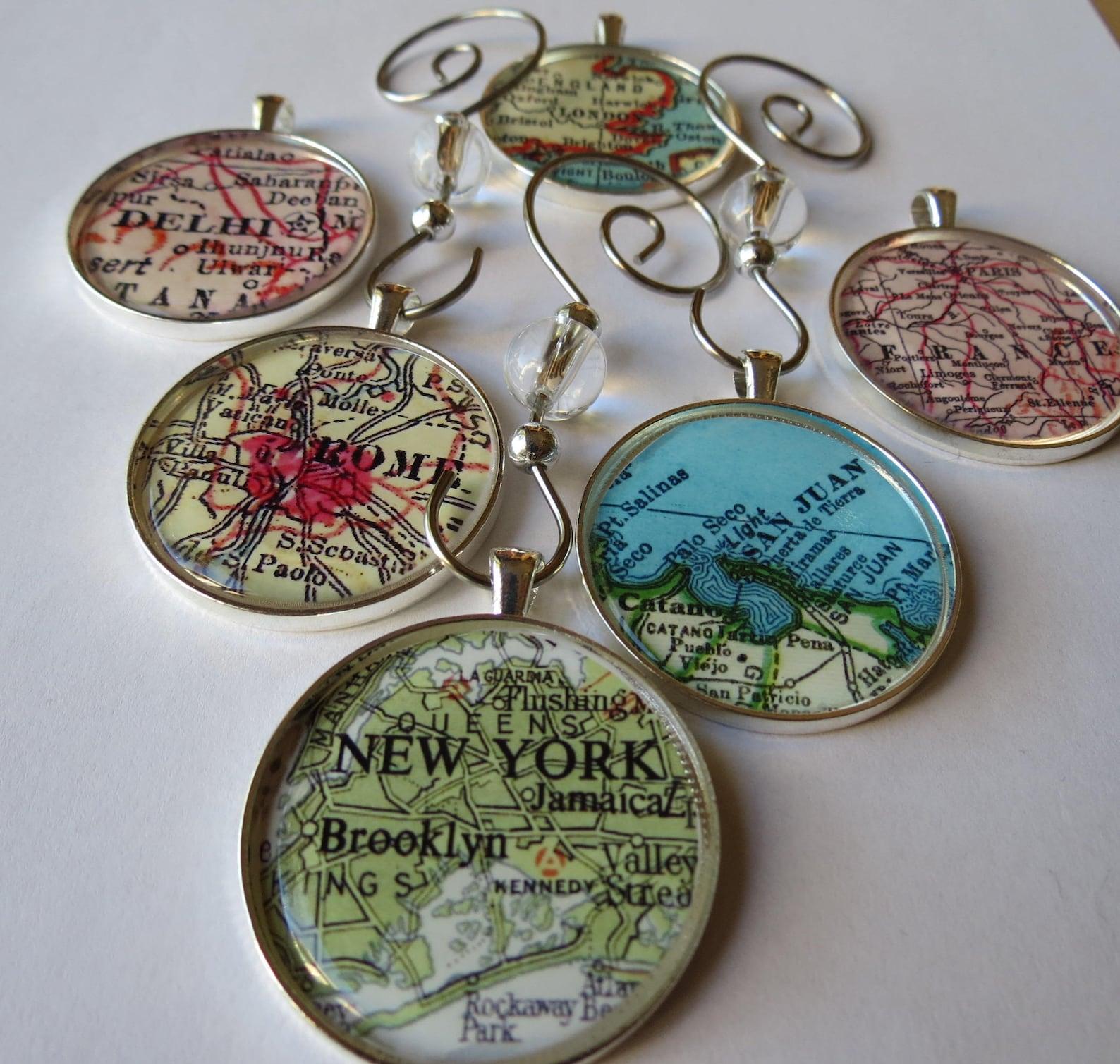 Custom Map Glass Ornament Set
