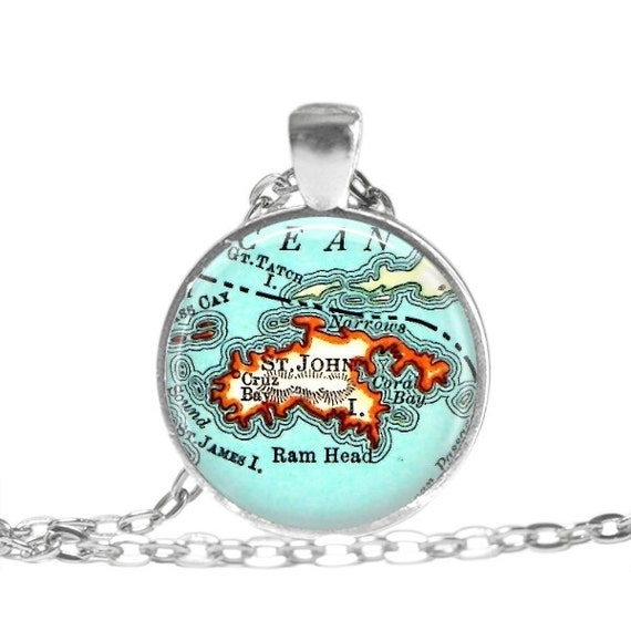 Virgin Islands Caribbean Necklace Keepsake Vintage Map Geography Gift  Pendant Necklace or Key Ring