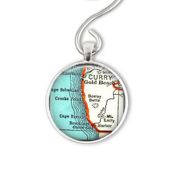 Gold In Oregon Map.Gold Beach Brookings Oregon Personalized Map Ornament Or Map Keychain Christmas Gift Under 20 Anniversary Gift Best Friend Gift Idea