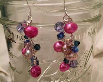 Plum Pearl and Swarovski Crystal Cluster Earrings