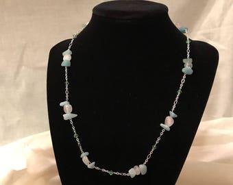 Amazonite, Rose Quartz and swarovski crystal necklace