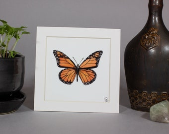 ARTWORK Monarch Butterfly, Texas State Insect, Butterfly mount, Mounted Insect, Framed Insect Art, Framed Specimen, Framed Watercolor,