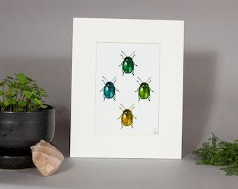 Beetle Jamboree, Metallic Beetle Framed Art, Framed Insect Art