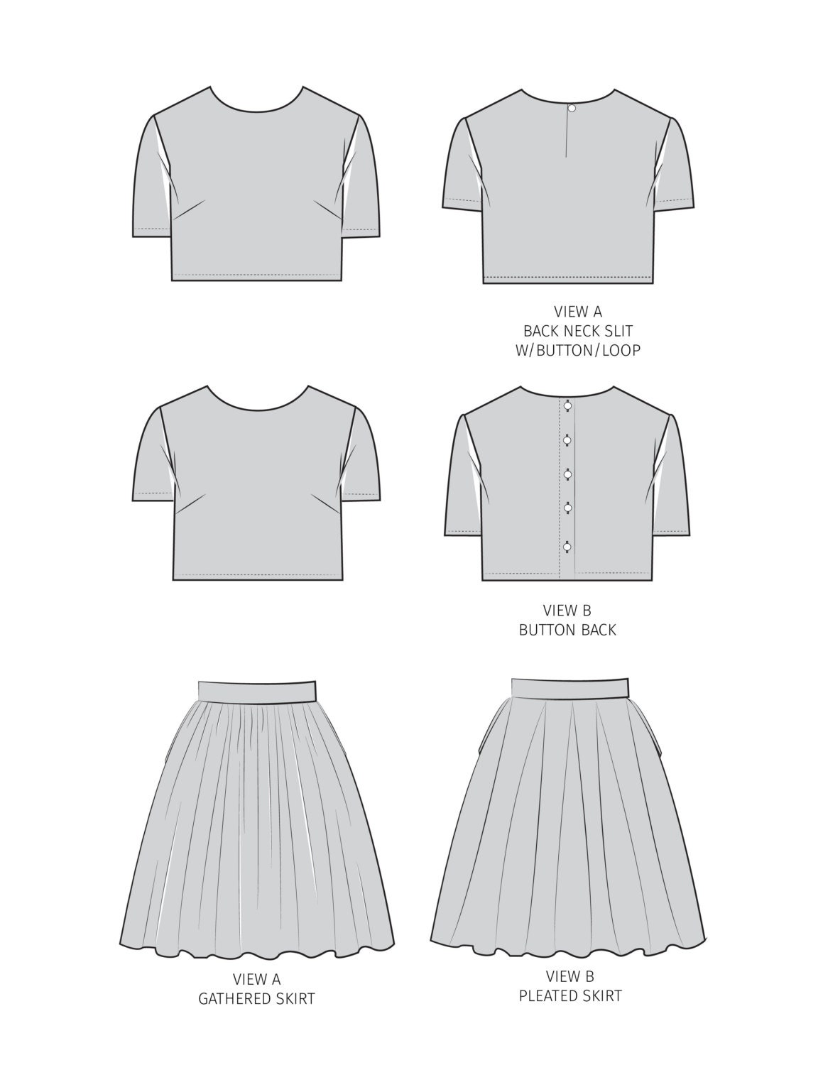 ON SALE - Gigi PDF Sewing Pattern Crop Top Set Womens 0-20 from ...