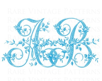 Custom Handmade Fancy French ALPHABET WEDDING MONOGRAMS 2-3 or 4 Large Letters Entwined Choose Color in 24 Hours 5xFiles Pdf Jpg Png Reverse