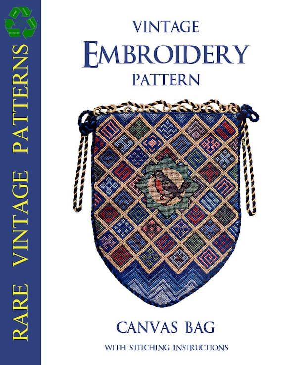 Rare Vintage Embroidery Pattern For A Canvas Bag With Sewing Etsy