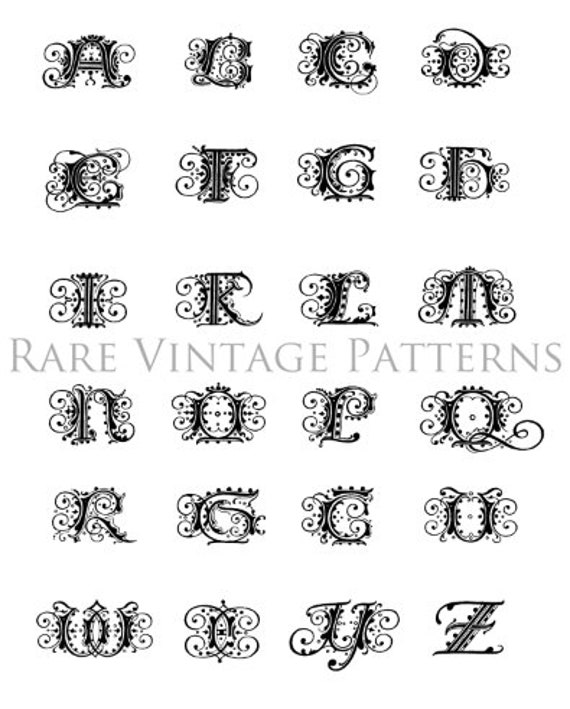 Fancy GERMAN ALPHABET STENCIL A To Z Initials on one A4 page 4 x Files Jpg  Png Transparent and Reverse Images Hand Embroidery Sewing Pattern