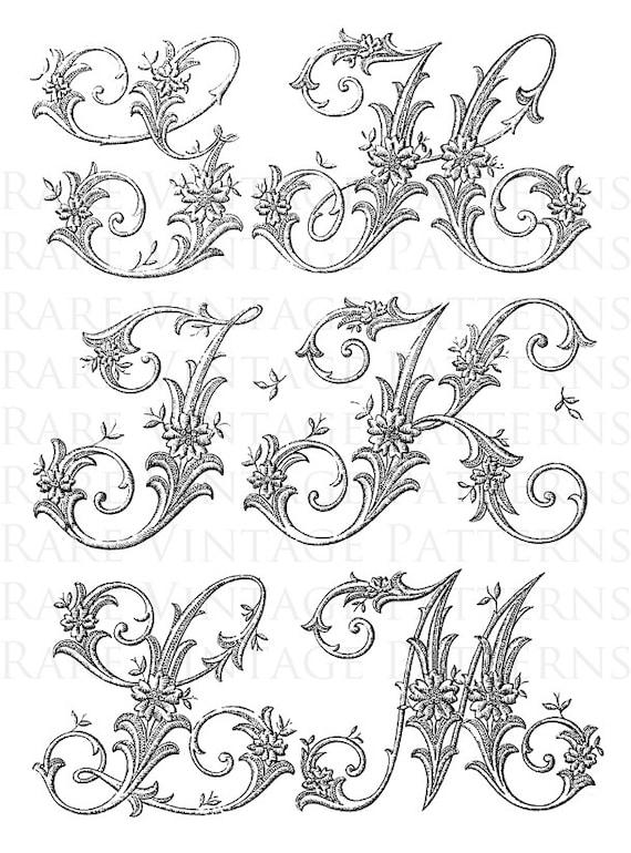 ALFABETO francés 1 Letras Stencil iniciales G-H-J-K-L-M Jpg | Etsy