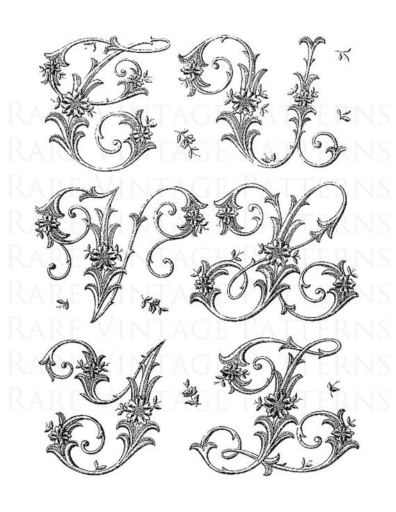 Letras del alfabeto francés 1 iniciales T-U-V-X-Y-Z Jpg Png 5 | Etsy