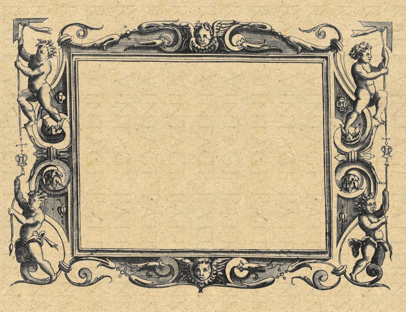 87dd60a8d8982e RARE 16thC Engraved Frame Printable Graphic Image Digital