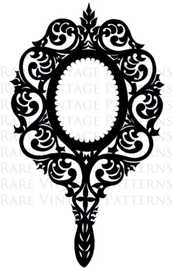Victorian Ornate Hand Mirror Stencil 2 X Files Jpg Png Etsy
