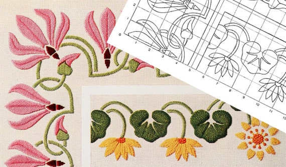 PRINTABLE ART NOUVEAU Floral Embroidery Pattern Number 3 | Etsy